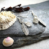 Boho Feather Earrings with Seaglass - The Biscuit Marketplace