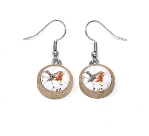 Red Robin eco wood earrings - The Biscuit Marketplace