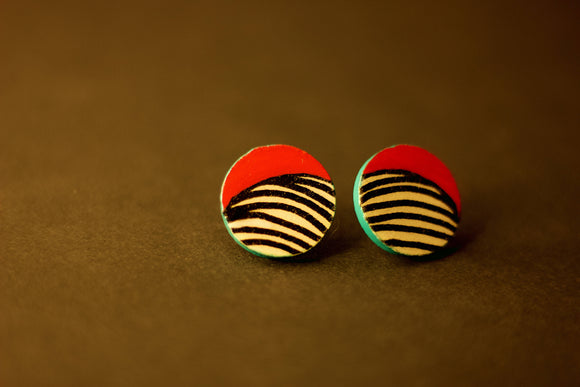 Decoupaged Wooden Stud Earrings