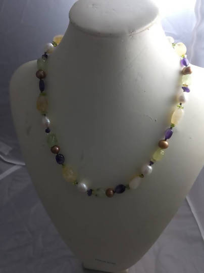 Vintage Pearl andVintage Semi Precious stone necklace, pearl and quartz necklace, multi coloured beaded necklace - The Biscuit Marketplace