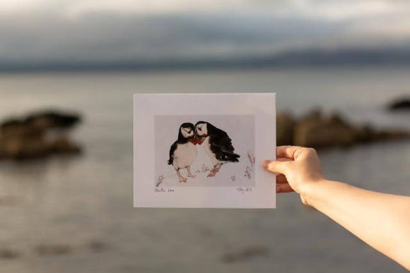 Puffin love art print - The Biscuit Marketplace