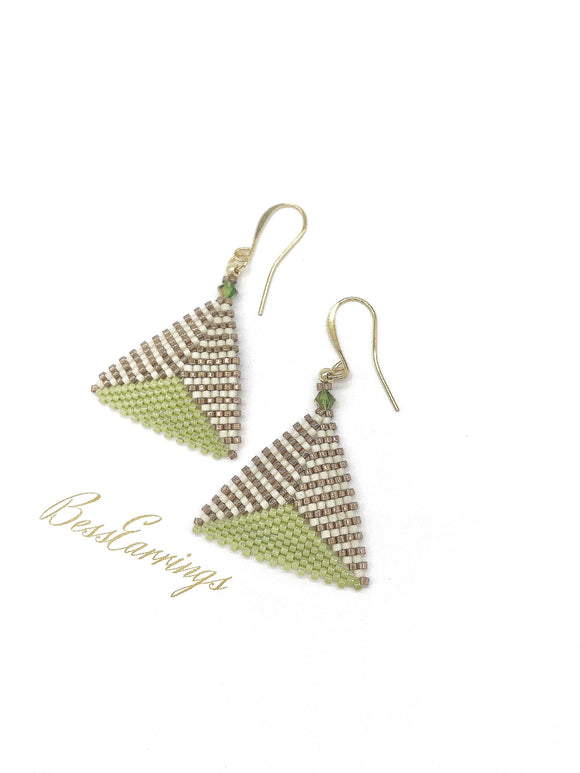 Green Dome Triangle Earring - The Biscuit Marketplace