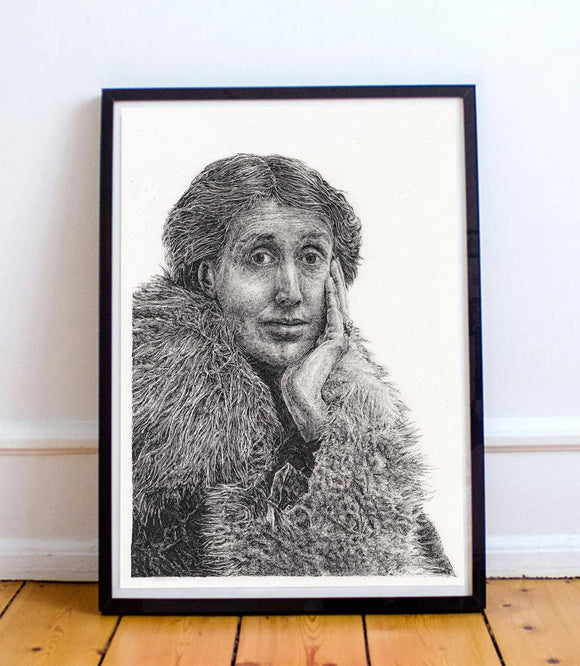 Virginia Woolf - Portrait in pen and pencil of iconic English writer - The Biscuit Marketplace