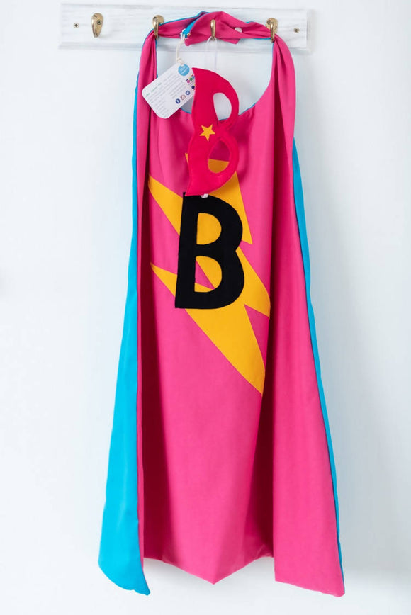 Hot Pink & Bubblegum Blue Superhero cape - The Biscuit Marketplace