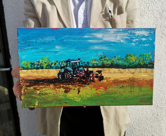 The Field Next Door by Sarah Eva Manson Acrylic on Canvas 15 x 25cm - The Biscuit Marketplace