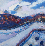 The Pathway In Blue And White - original abstract landscape in oil on wood - ready to hang
