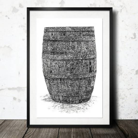 Vintage Irish Whiskey Barrel - Illustration Print - The Biscuit Marketplace