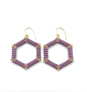 Purple Hexagon Beaded Earrings - The Biscuit Marketplace