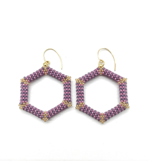 Purple Hexagon Beaded Earrings