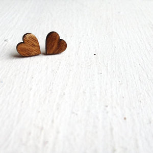 Little Wooden Heart Stud Earrings - The Biscuit Marketplace