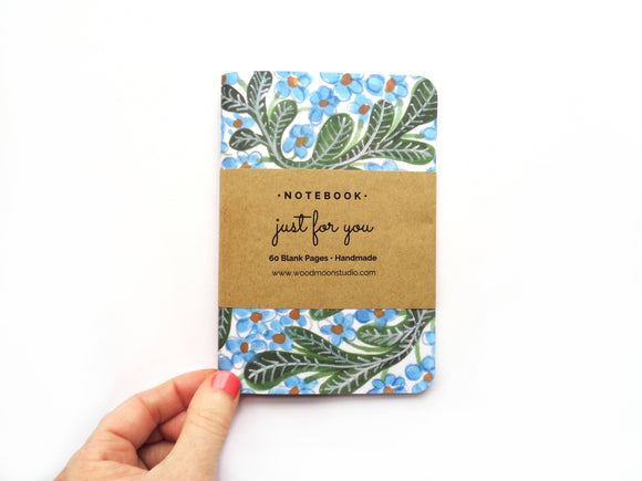 A6 Blue & Green Floral Blank Notebook - Forget-Me-Not