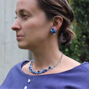 Blue lucite necklace and earrings - The Biscuit Marketplace