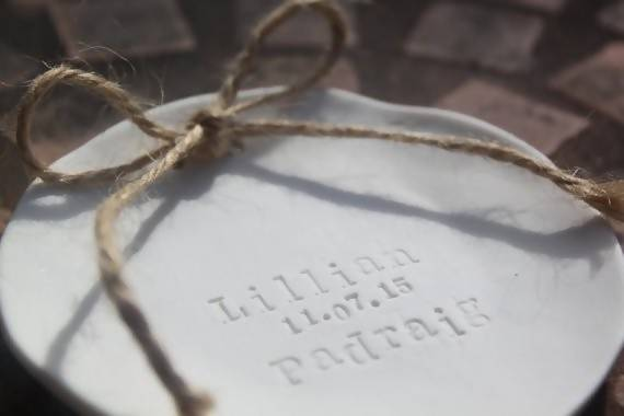 Rustic Porcelain Handmade Wedding Ring Dish - Personalised for the Bride and Groom's Big Day - The Biscuit Marketplace