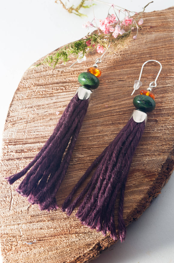 Jasper Tassel Earrings - The Biscuit Marketplace