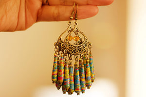 Boho Statement - Paper Bead Earrings - The Biscuit Marketplace