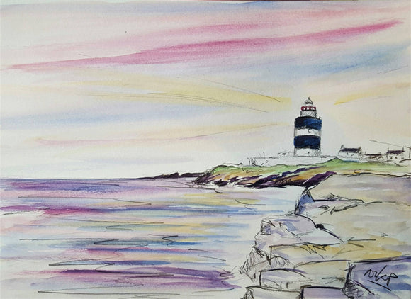 Hook Head Lighthouse at Dawn - Watercolour & Pencil study - The Biscuit Marketplace