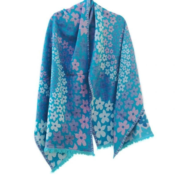 Daisy Sky Merino Wool Shawl - The Biscuit Marketplace