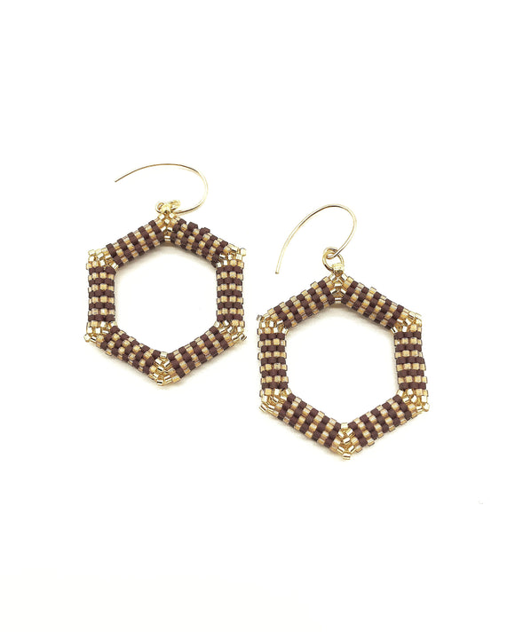 Brown and Gold Hexagon Beaded Earrings