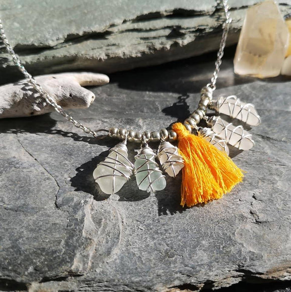 Seaglass & Tassel Necklace