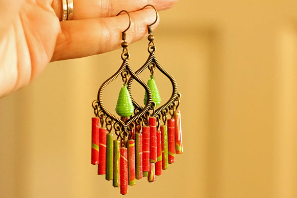 Boho Bronze - Paper Bead Earrings - The Biscuit Marketplace