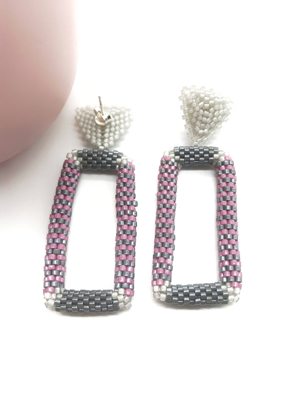 Modern Rectangular Beaded Earrings - The Biscuit Marketplace