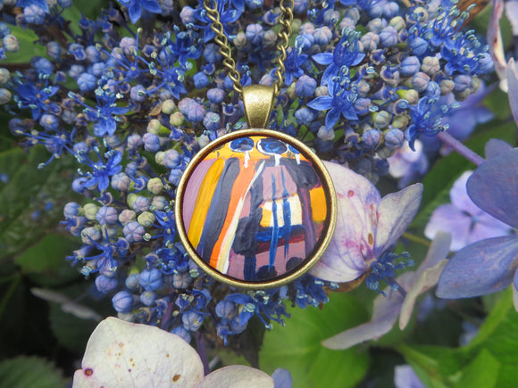 The Blue Trees - hand painted pendant - The Biscuit Marketplace