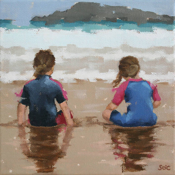 Just us and the sea (Original oil on canvas framed) - The Biscuit Marketplace