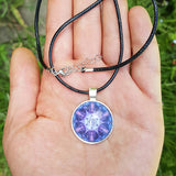 Cosmic Blue And Purple Flower Mandala Necklace - The Biscuit Marketplace