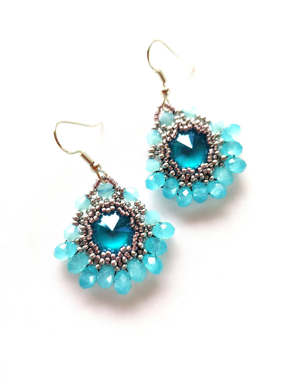 Blue Frosted Swarovski Crystal Earrings - The Biscuit Marketplace