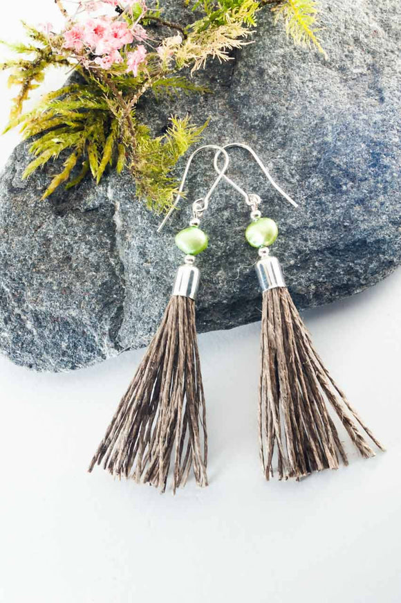 Green Pearl Tassel Earrings - The Biscuit Marketplace
