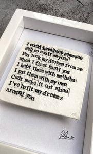 The Pogues - Fairytale of New York - Words in Porcelain. Christmas Classic - Minature version - The Biscuit Marketplace