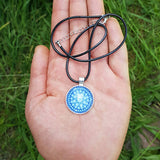 Cosmic Blue Sacred Geometry Mandala Pendant - The Biscuit Marketplace