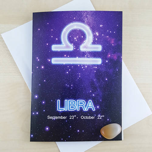 Libra Astrology Birthday Gift Card With Banded Agate Birthstone