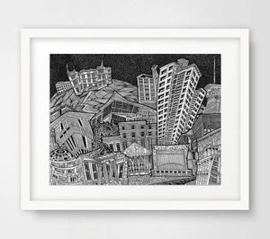 Collage of Dublin City's Theatres - Illustration Print - The Biscuit Marketplace