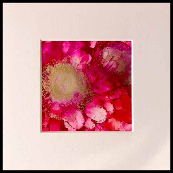 Pink flowers painting 1 - The Biscuit Marketplace