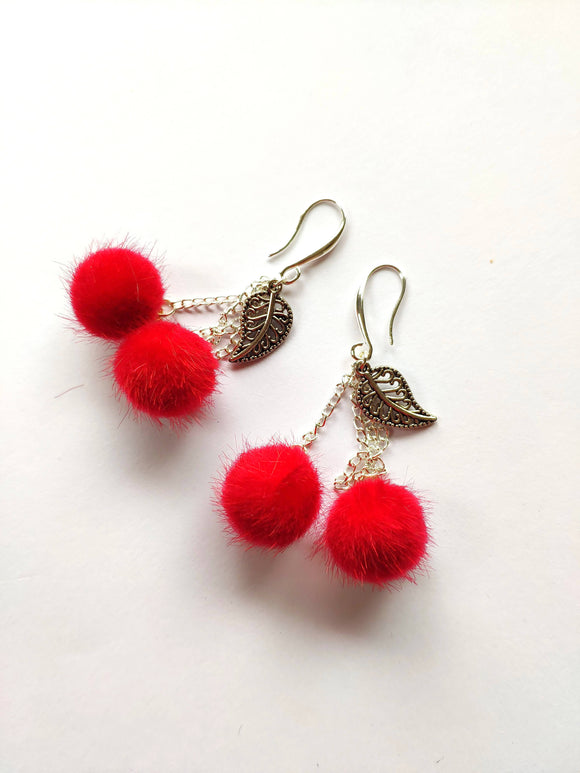 Cherry Pom Poms earrings - The Biscuit Marketplace