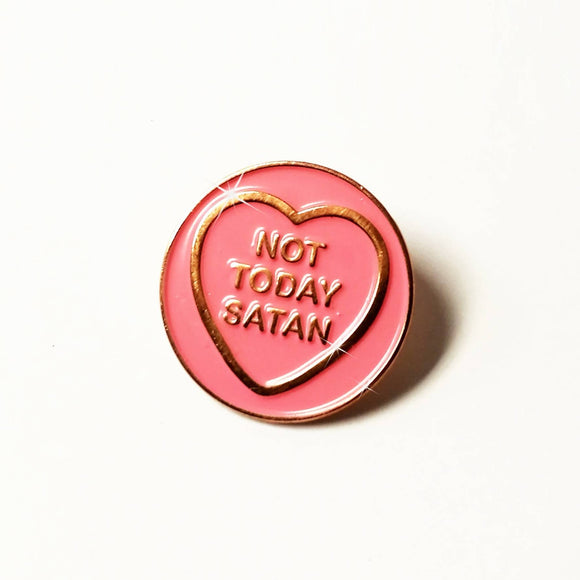 Not Today Satan - Hate Hearts Enamel Pin - The Biscuit Marketplace