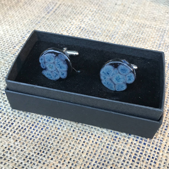 LAVVŌ porcelain and enamel cufflinks: black with blue - The Biscuit Marketplace