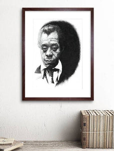 James Baldwin, Iconic American Author - Portrait in unfinished style - The Biscuit Marketplace