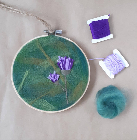 Thistle hand embroidery needle felted hoop/fiber art, framed home decor