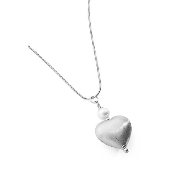 Silver Heart Pendant - Sterling Silver with freshwater pearl - The Biscuit Marketplace