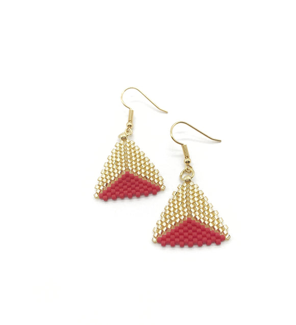 Small Gold Red Triangle Beaded Earrings - The Biscuit Marketplace