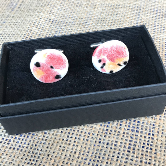 LAVVŌ porcelain and enamel cufflinks: white with red, orange and black - The Biscuit Marketplace