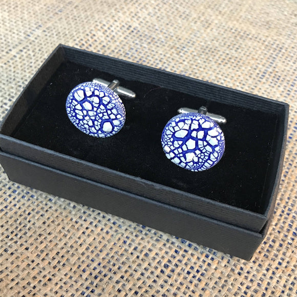 LAVVŌ porcelain and enamel cufflinks: white crackle over blue - The Biscuit Marketplace