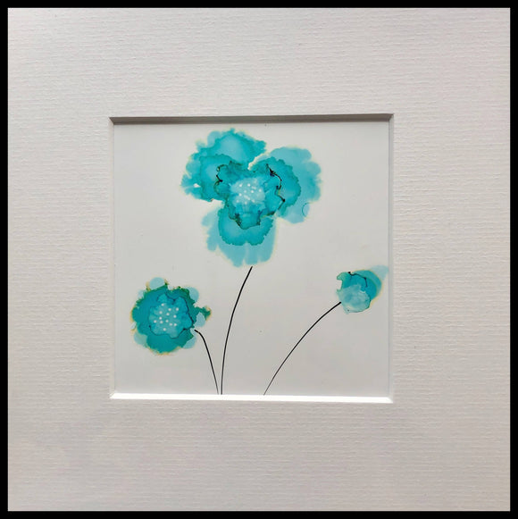 flowers painting blue 1 - The Biscuit Marketplace