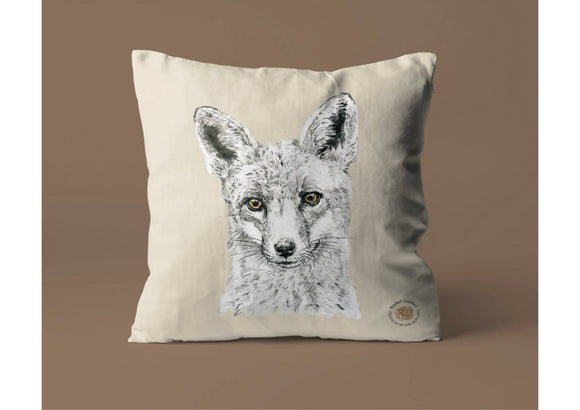 Foxy Natural Cotton Cushion Cover
