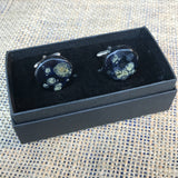 LAVVŌ porcelain and enamel cufflinks: black with beige - The Biscuit Marketplace