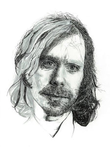 Aaron Dessner of The National illustration print - Unfinished style portrait in pen / pencil