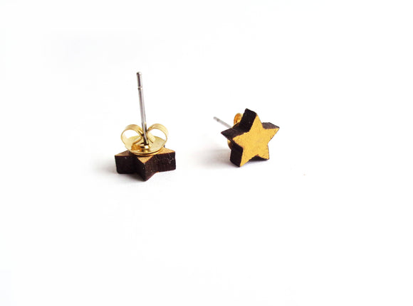 Small Wooden Gold Star Stud Earrings