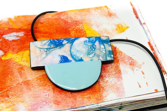 Blue Contemporary Design Necklace - The Biscuit Marketplace